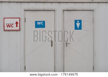 An entrance to the old male and female toilet