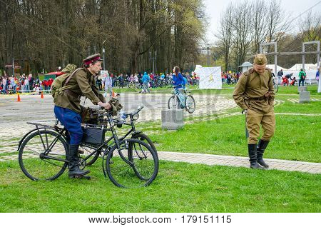 Belarus, Minsk - April 30/2016: On The Central Streets Of Minsk Hosted The Annual Bicycle Carnival I