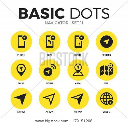 Navigator flat icons set with phone, road and point isolated vector illustration on white