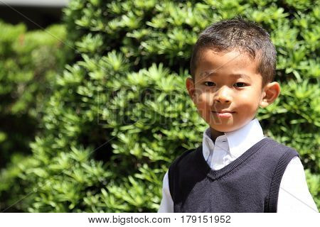 Japanese Boy In The Formal Wear (first Grade At Elementary School)