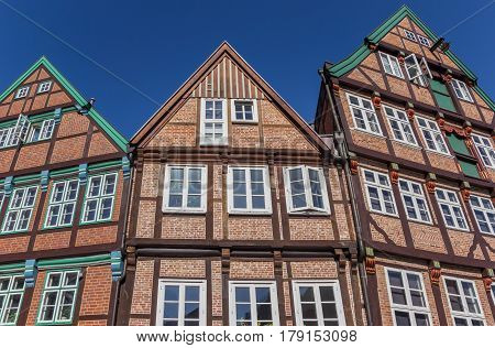 Half Timbered Houses In The Historical City Center Of Stade