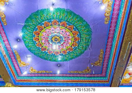 The Colorful Ceiling Of Matale Hindu Kovil