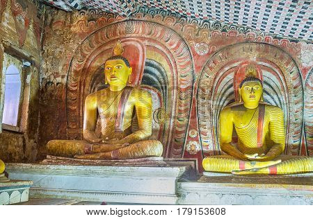 The Ancient Colorful Statues Of Dambulla Caves