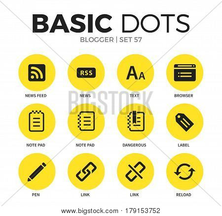 Blogger flat icons set with note pad elements, news feed form, and links form isolated vector illustration on white