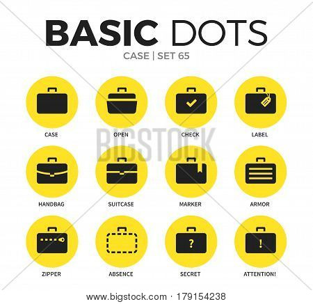 Case flat icons set with open case form, zipper form and secret case isolated vector illustration on white