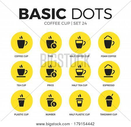 Coffee cup flat icons set with foam coffee form, half plastic cup form and espresso coffee isolated vector illustration on white