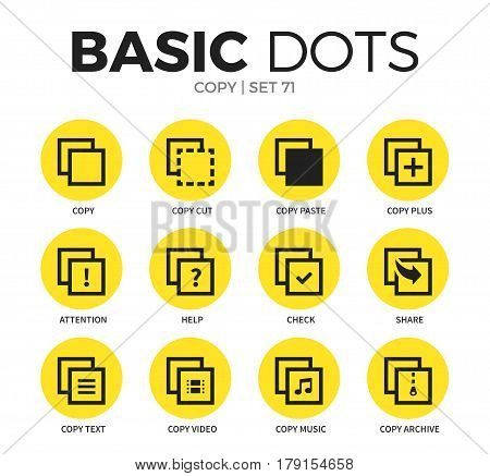 Copy flat icons set with copy cut form, copy plus form and copy text form isolated vector illustration on white