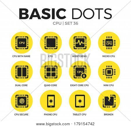CPU flat icons set with monitoring form, micro CPU form and quad core form isolated vector illustration on white