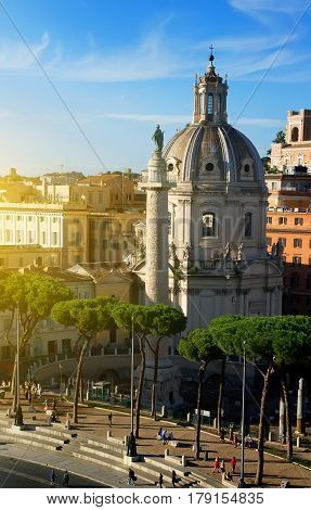 Forum of Trajan with basilica and statue in Rome, Italy