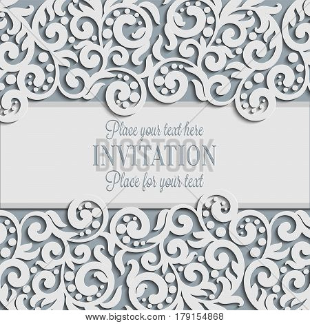 Vector Floral Swirls Decorated Invitation Card Abstract 3D Background Design Template With Plac E For Text White Simple Lace Shadow Paper Cut Effect