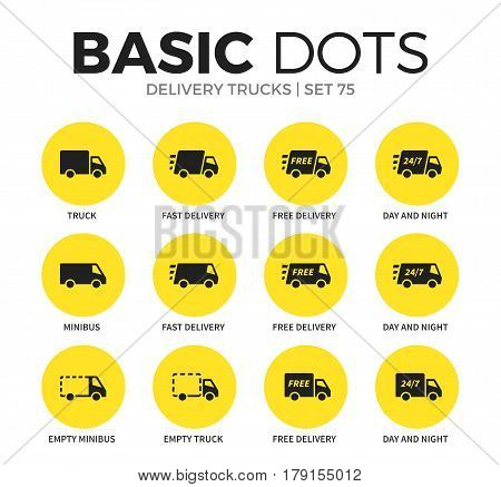 Delivery trucks flat icons set with truck form, fast delivery form and minibus form isolated vector illustration on white