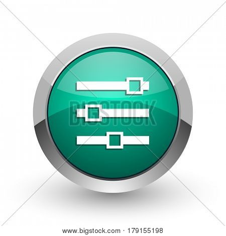 Slider silver metallic chrome web design green round internet icon with shadow on white background.