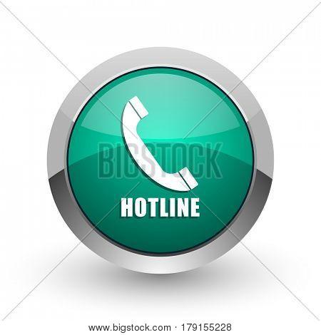 Hotline silver metallic chrome web design green round internet icon with shadow on white background.