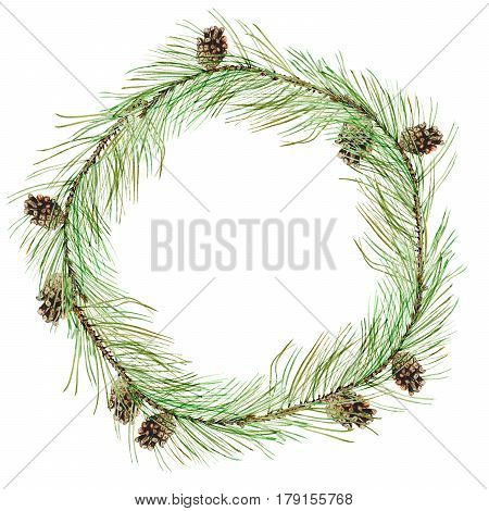 Wreath of a Pine branches and bump.Garland of a twig.Invitation card.Watercolor hand drawn illustration.