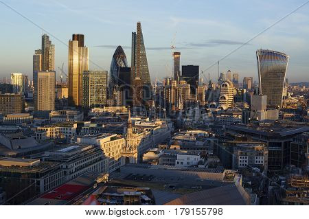 Financial district of London at sunset, London,  England