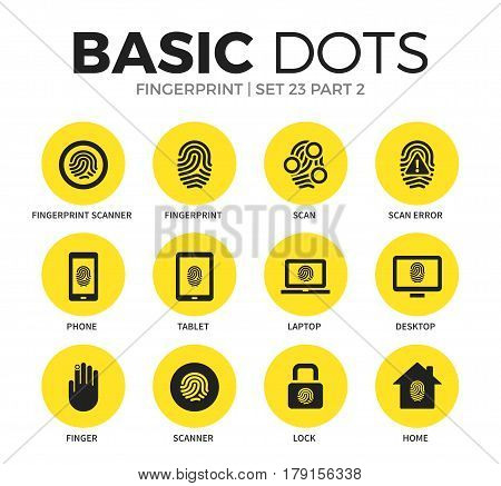 Fingerprint flat icons set with fingerprint scan form, scan form and phone form isolated vector illustration on white