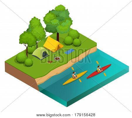 Isometric Camping on the river bank. Tents, bonfire and kayaking on the river. Vacation and holiday concept
