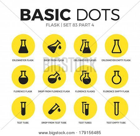 Flask flat icons set with test tubes, florence flask and erlenmeyer flask isolated vector illustration on white