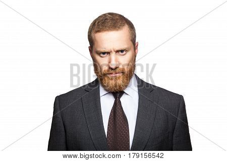 Unhappy sad businessman looking at camera. isolated on white looking at camera.