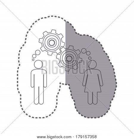 sticker silhouette of man and woman with thought in a pinions vector illustration