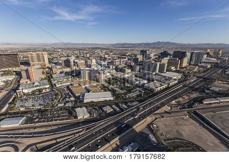 Las Vegas, Nevada, USA - March 13, 2017:  Aerial view of Las Vegas towers and interstate 15 in Southern Nevada.