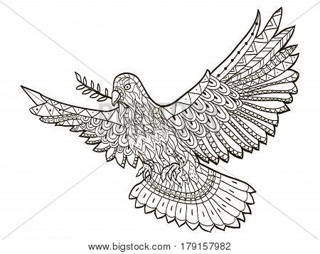 Dove of the World fly with a branch in its beak on a white background coloring book for adults vector illustration. Anti-stress coloring for adult. Zentangle style nature. Black and white lines.