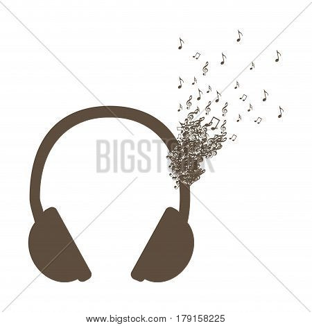 monochrome background of headphones with music notes fading vector illustration