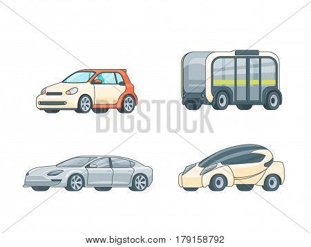 Colorful electric cars collection of different design and construction on white background isolated vector illustration