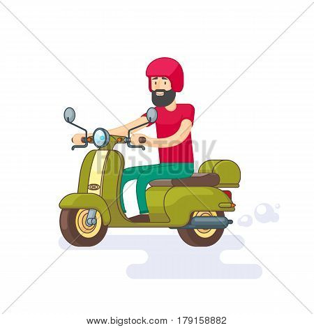 Colorful moped template with bearded man in helmet riding green motorbike in flat style vector illustration