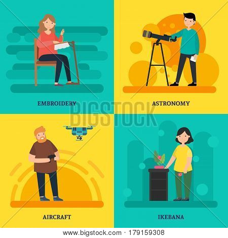 Colorful university courses square concept with people involving in different hobbies in flat style vector illustration