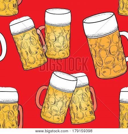 Beer seamless pattern. Ornamental background with beer mug. Beer glass sketch. Oktoberfest beer fest pattern