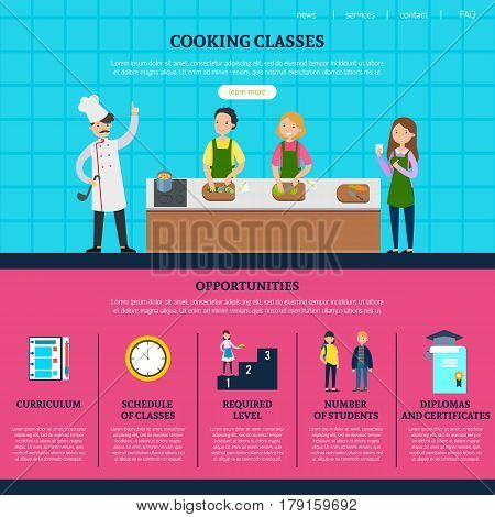 Colorful cooking classes web page template with people preparing different meals and course opportunities and advantages vector illustration