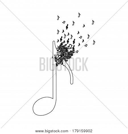 monochrome contour of quaver note with top fading vector illustration