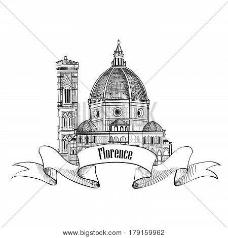 Florence symbol. Travel Italy icon. Hand drawn sketch. Cathedral Santa Maria del Fiore