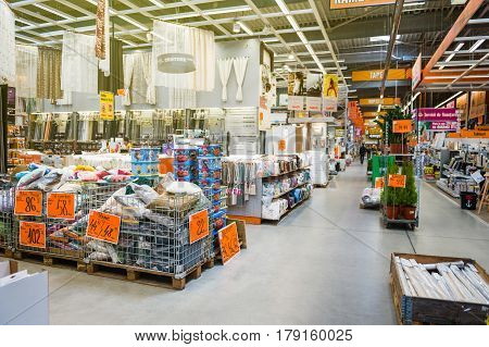 BUCHAREST ROMANIA - APR 1 2016: Interior of Hornbach the German DIY-store chain offering home improvement and do-it-yourself goods - diverse pillows household items etc