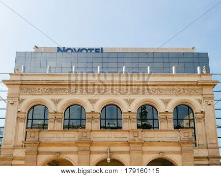 BUCHAREST ROMANIA - APR 1 0216: Luxury Novotel Hotel Novotel Bucharest City Centre facade with modern and old architecture located on Calea Victoriei