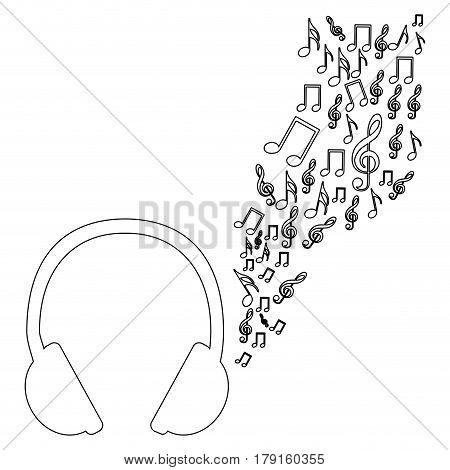 monochrome contour of headphones with music sound vector illustration