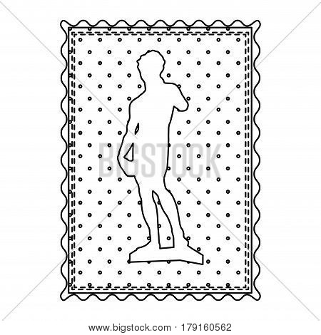 monochrome contour frame of sculpture david made by buonarroti vector illustration