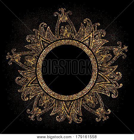 The raster version golden glittering frame on black background. Glittering dust. Mandala ornament.