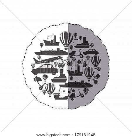 sticker monochrome circular pattern formed by means transport vector illustration