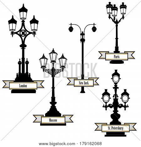 Street lamp label set. Street lights of London PAris New-York Moscow St Petersburg retro collection. Travel the world icon set.