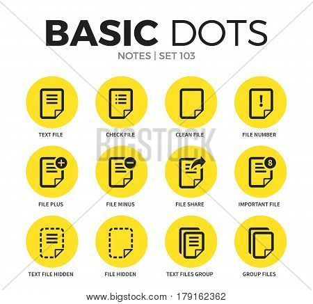 Notes flat icons set with text file, check file and clean file isolated vector illustration on white