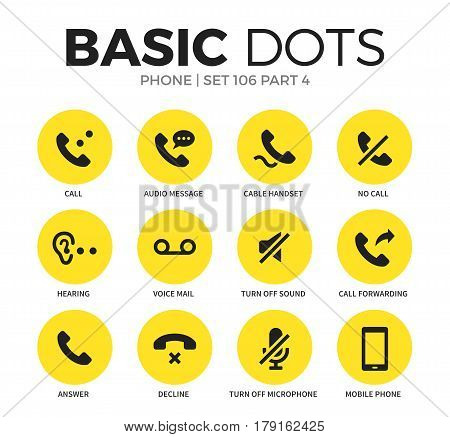 Phone flat icons set with call, answer and hearing isolated vector illustration on white