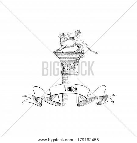Venice citiy symbol San Marco Lion statue on column. Italian landmark label isolated over white background with copy space. Travel Italy sign.
