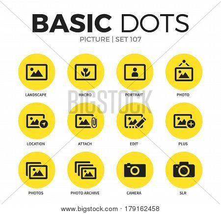 Picture flat icons set with macro, edit and photo isolated vector illustration on white