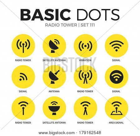 Radio tower flat icons set with signal, radio tower and antenna isolated vector illustration on white