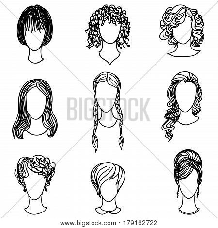 Cute girl faces collection. Women avatars set. Handsome characters flat design. Hand drawn sketch design.