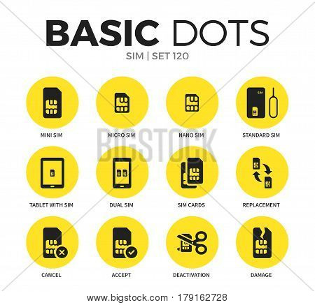 Sim flat icons set with mini sim, micro sim and dual sim isolated vector illustration on white