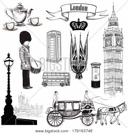 English icon set. London symbols England UK Europe. Hand drawing vintage illustration over white background.