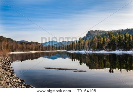 Landscape Of Mountains And Forest Reflecting In Water Of Biya River, Altai, Siberia, Russia